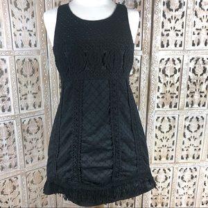 Forever 21 black embroidered eyelet mini dress S